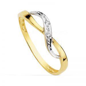 anillo oro comunion bicolor con circonitas