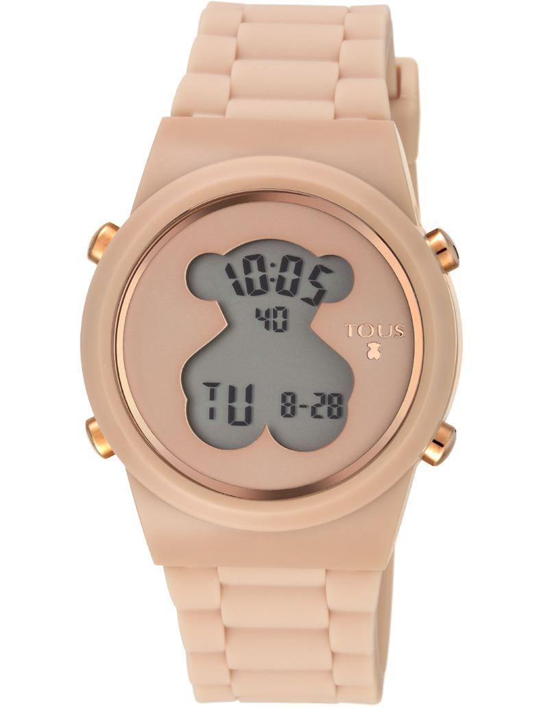 Reloj Bear Time de acero IP rosado con correa de piel