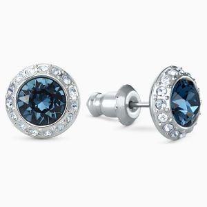 pendientes de boton angelic azul baño de rodio swarovski 5536770