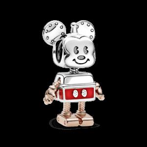 CHARM PLATA Y ROSE, ESMALTE ROJO ROBOT MICKEY MOUSE DISNEY PANDORA 789073C01