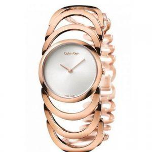 reloj-calvin-klein-mujer rosado esfera blanca-k4g23626