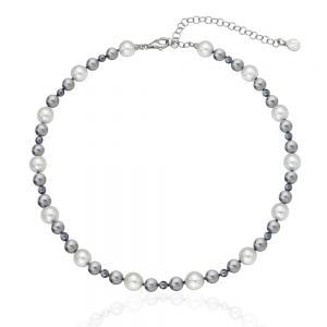 COLLAR PLATA PERLAS MULTICOLOR 6810 MM 40-45 CMS MAJORICA 16502.21.2.000.010.1