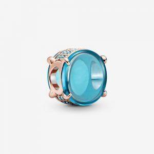 PANDORA Charm rosado cabujón Ovalado Azul 789309C01