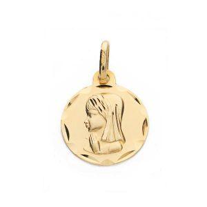Medalla 9 kilates virgen niña redonda 14mm 9k-270115