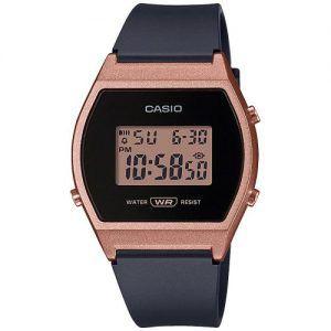 RELOJ CASIO COLLECTION digital rosado con correa caucho negro LW-204-1AEF