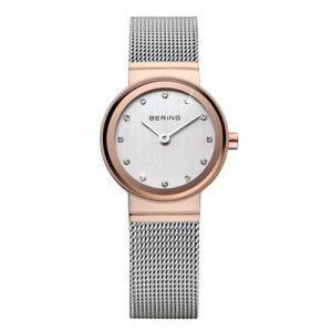 Reloj Bering CLASSIC esfera blanca bisel rosado 26mm 10126-066