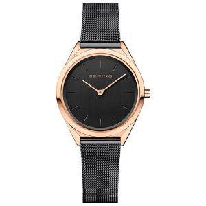 Reloj Bering chica malla negra caja rosada ultra slim 31mm 17031-166