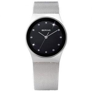 Reloj Bering chica malla plata esfera negra indices circonitas 27mm 12927-002