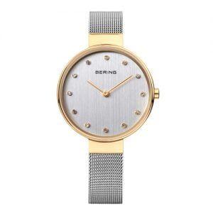 Reloj Bering chica malla y esfera plateada bisel dorado 34mm 12034-010