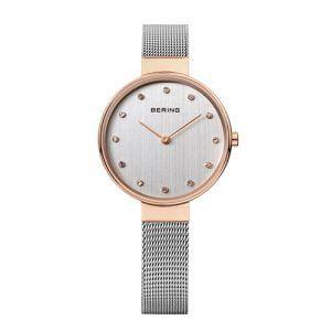 Reloj Bering chica malla y esfera plateada bisel rosado 34mm 12034-064