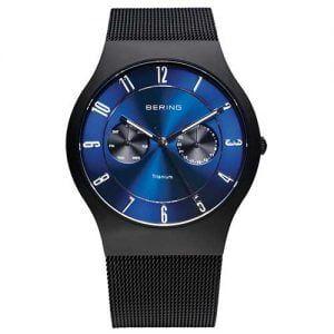 Reloj Bering chico malla negra esfera azulona 39mm 11939-078