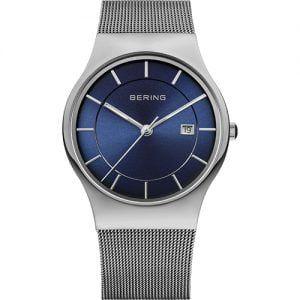 Reloj Bering chico malla plateado esfera azul 38mm 11938-003