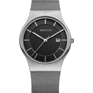 Reloj Bering chico malla plateado esfera negra 38mm 11938-002