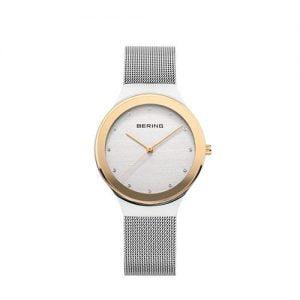 Reloj Bering malla esfera blanca bisel dorado 34mm 12934-010