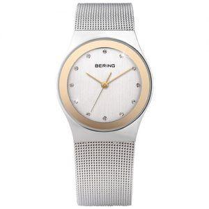 Reloj Bering malla esfera blanca bisel rosado 27mm 12927-010