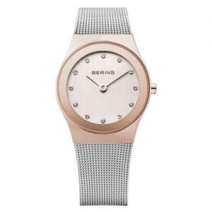 Reloj Bering malla esfera blanca bisel rosado 29mm 12927-064
