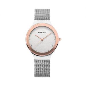 Reloj Bering malla esfera blanca bisel rosado 34mm 12934-060