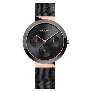 Reloj Bering malla negra bisel cerámico 33mm 35036-166