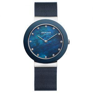 Reloj Bering malla y bisel azul indices circonitas 35mm 11435-387