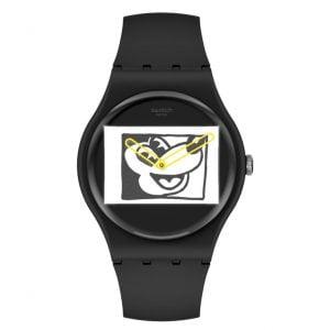 Reloj Swatch Blanc sur Noir Keith Haring Mickey Mouse Disney negro manecillas amarillas SUOZ337