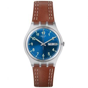 Reloj Swatch CORREA CUERO ESFERA AZUL WINDY DUNE GE709