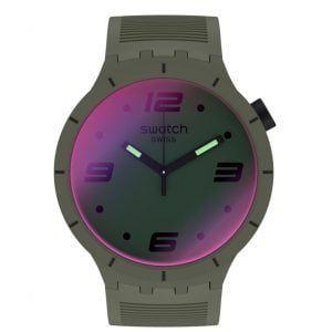 Reloj Swatch Futuristic Green correa verde oscura SO27M105