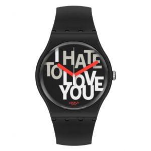 Reloj Swatch Hate to love negro manecillas rojas SUOB185