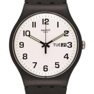 Reloj Swatch negro esfera blanca TWICE AGAIN SUOB705