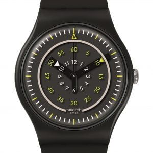 Reloj Swatch Piu Nero negro numeros amarillos suob157