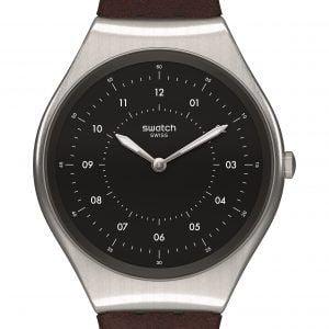 Reloj Swatch Skin Iraony correa cuero esfera negra SKINBRUSHED syxs102