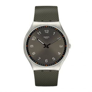 Reloj Swatch Skinearth skin Irony gris numeros blancos indices naranjas SS07S103