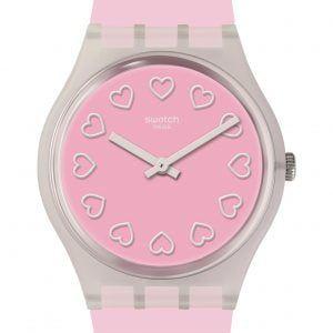 Reloj Swatch all pink rosa corazones blancos ge273