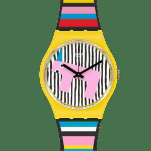 Reloj Swatch amarillo y multicolor Necessary Focus GZ341