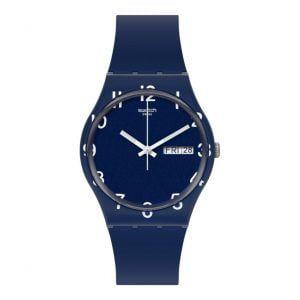 Reloj Swatch azul oscuro numeros blancos Over Blue GN726