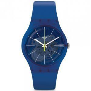 Reloj Swatch azulon indices blancos Blue Sirup SUON142