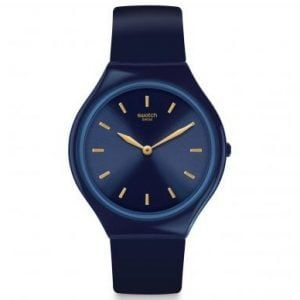 Reloj Swatch azulon indices dorados skinazuli SVON104