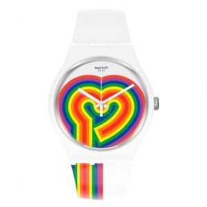 Reloj Swatch beating love blanco corazon multicolor SUOW171