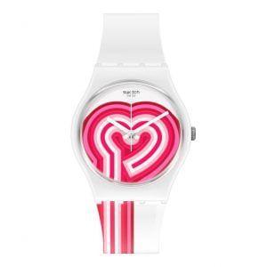Reloj Swatch blanco corazón fucsia GW214