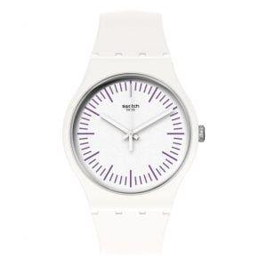 Reloj Swatch blanco indices morados whiten purple SUOW173