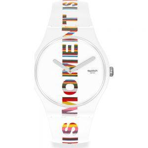 Reloj Swatch blanco letras multicolor time is magic suoz330