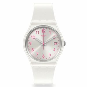 Reloj Swatch blanco numeros fucsias pearlazing GW411
