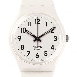 Reloj Swatch blanco numeros negros JUST WITHE SOFT GW151O