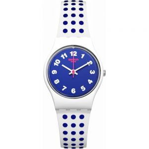 Reloj Swatch blanco puntos azules bluedots lw159