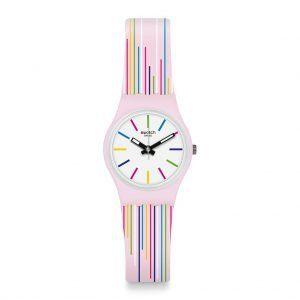 Reloj Swatch blanco rayas color Pink Mixing LP155