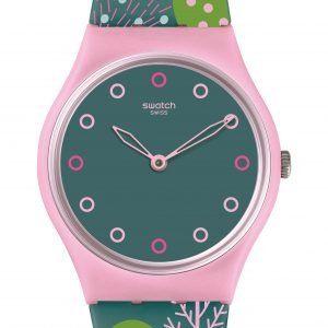 Reloj Swatch correa flores y esfera azul Hwange gp152