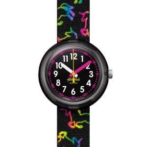Reloj Swatch flik flak correa negra con unicornios de colores FPNP070