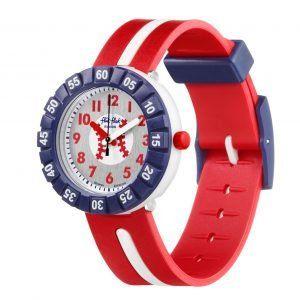 Reloj Swatch flik flak correa roja raya blanca FCSP101