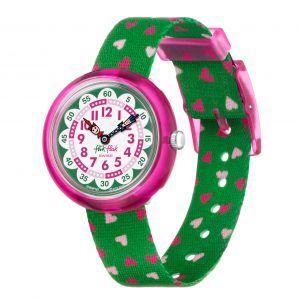 Reloj Swatch flik flak correa verde corazones FBNP161