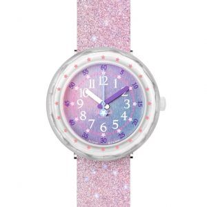 Reloj Swatch flik flak rosa purpurina FCSP107