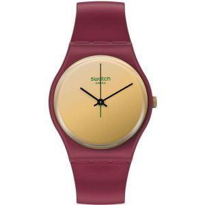 Reloj Swatch granate esfera dorada SO28R102